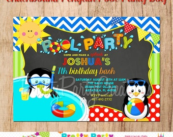 CHALKBOARD PENGUIN POOL Party Boy invitation - You Print