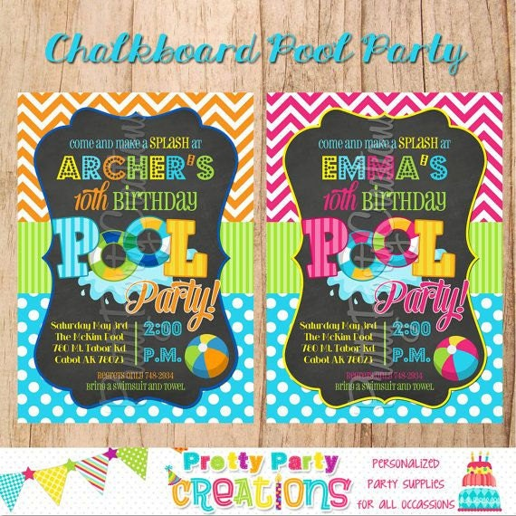 Chalkboard Pool Party Invitation You Print