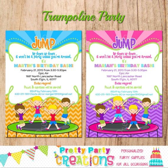 Trampoline Party Invitations: TRAMPOLINE PARTY Invitation You Print