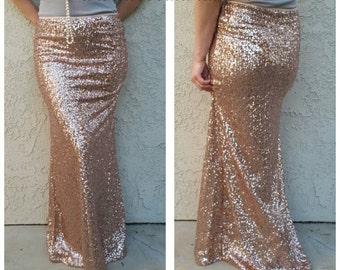 SALE til 11/23 Blush Rose Gold Maxi - Gorgeous high quality sequins- Long sequined skirt - S, M, L, XL (Handmade in LA!)