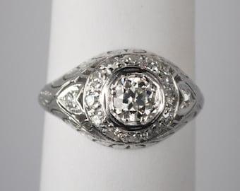 Platinum and Diamond  .50 Carat Edwardian Engagement Ring