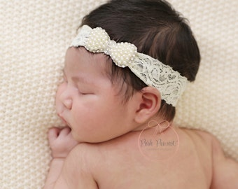 pearl baby headband, baby headbands, lace pearl headband, newborn headband, Bow headband, mini bow headband, dainty headband, girls headband