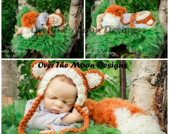 There was a little fox, fox photography prop set, fox hat, fox tail, fox boots