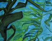 Kelp Forest Study I - Original Oil Painting on Loose Canvas - 5x5 Inch Image Mounted and Matted to 10x10 Inches