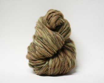 Handspun Thick and Thin Merino Yarn Wool Slub  Hand Dyed tts(tm) Bulky Taupe 04