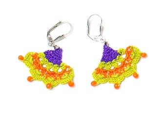 Earrings-Oriental Style Crochet Earrings,Ethnic Earrings,Yellow Orange,Iznik Tile,Ottoman,Historical Jewelry,Ancient Inspired