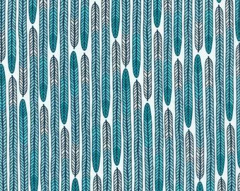 Biology Plumes in Turquoise, Sarah Watson, 100% GOTS-Certified Organic Cotton, Cloud9 Fabrics, 125703