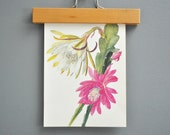 Vintage Cactus Book Plate - Pink and Green