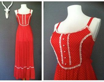 Dame of Dixie Dress *1970's Red Swiss Dot Maxi Dress
