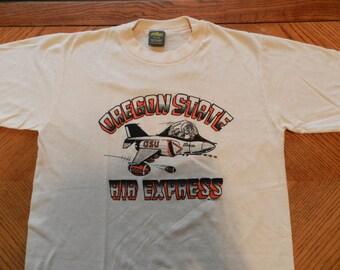 vintage Oregon State Beavers T Shirt thin soft 50/50 Football Air Express NOS OSU 80s college Jerzees tee off white Medium