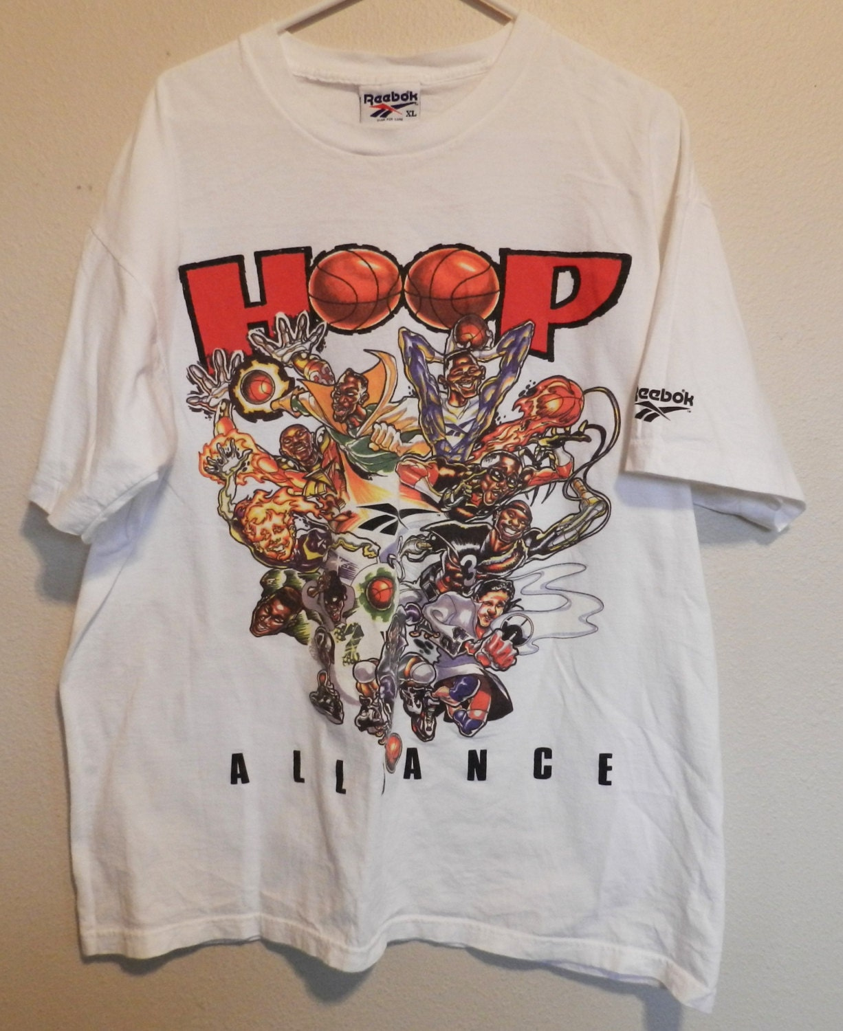 Vintage nba caricature t shirt reebok hoop alliance early 90s for Retro basketball t shirts