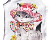 Tee shirt tank kitten Vintage inspried Childrens tshirt adorable kitty