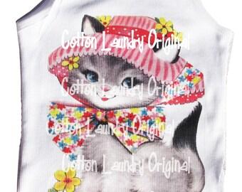 Tee shirt tank kitten Vintage inspried Childrens tshirt adorable kitty