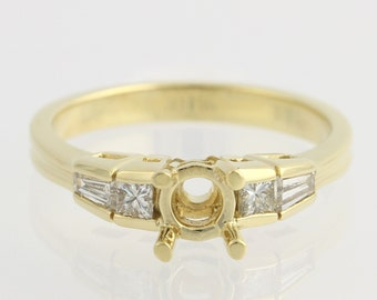 Engagement Ring Semi-Mount for .75ct or 5.8mm Stone - 18k Yellow Gold .28ctw Unique Engagement Ring F7040