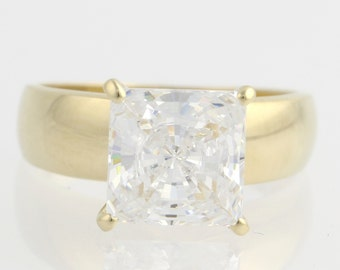 Engagement Ring Cubic Zirconia Solitaire - 14k Yellow Gold Polished Fashion CZ Unique Engagement Ring F6294