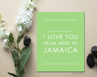 Jamaica Wedding Gift for Couple, Jamaica Art, Beach Wedding, Paper Anniversary, I Love You From Here to Jamaica, Shown in Light Green