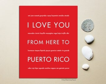 Puerto Rico Art, Puerto Rico Gift Print, Puerto Rico Wedding, Wall Art, I Love You From Here To PUERTO Rico, Shown in Bright