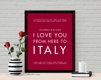 Italy Personalized Wedding Gift Art Print - Shown in Dark Red - Custom Color Text Canvas Frame - Anniversary Engagement Gift