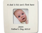 Father's Day Gift Frame Personalized A dad is his son's first hero NEW!