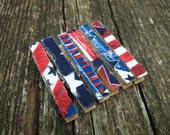 Shabby Ragged Frayed Fabric Red White Blue Decorative 4th of July Wooden Clothespins - Set of 6