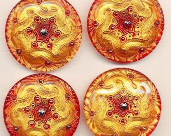 Large Czech Glass Buttons - set of 4 -Orange