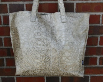 Faux Alligator Leather Tote-champagne gold alligator-bag-tote bag-cwinn-gift-unique-tote bag-chic-unique-couture-leather-black friday