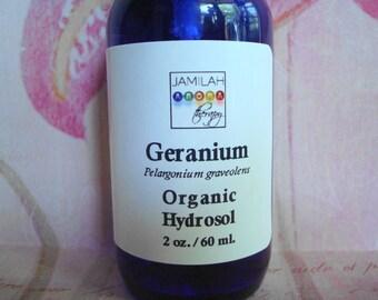 Hydrosol - Geranium Organic Hydrosol - Adaptogenic, Balancing Skin Care Hydrosol - All Skin Types, Face Toner, Body Spray - 100% Organic