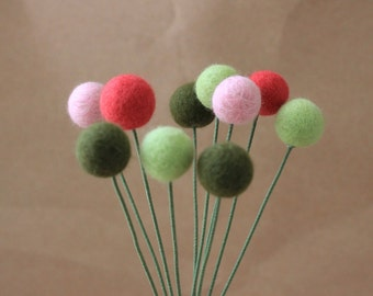 10 Felted Wool Billy Button Balls Craspedia Pink Green Home Decor