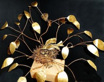 """Sculpture """"Nest in Aspen"""" Copper & Brass Large Focal Centerpiece"""