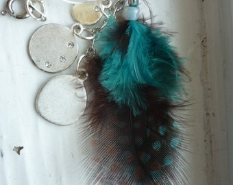 Teal and brown feather necklace