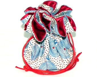 Drawstring Jewelry Bag Pouch - Jewelry organizer - Blue, White and Red travel bag