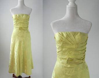Vintage Dress, Vintage Green Dress, Carmen Marc Valvo, Couture Dress, Pistachio Green Dress, Strapless Gown, Floral Dress, Butterfly Dress