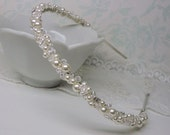 Vintage Inspired Wedding Headband Tiara with Pearls and Swarovski Crystals