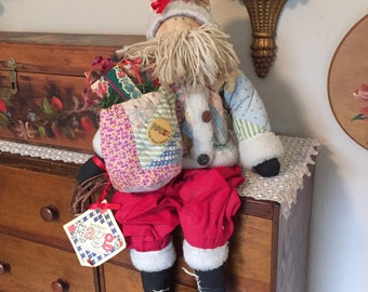 Authentic vintage Carol Taylor Raggs Old Stitched Quilt  Santa Claus Doll