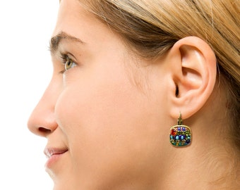 Michal Golan Multicolor square Beaded Earrings with glass beads and Swarovski crystal.