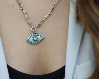 Michal Golan Silver Eye with Blue Crystal Necklace