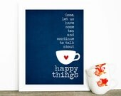Typography Poster Mothers Day Gift Tea and Happy Things Digital Art Print Gift for Mom Mothers Day Poster