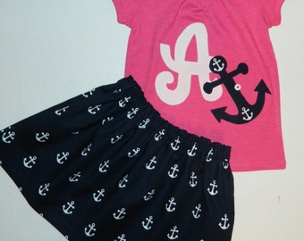 2 piece Anchors away, hot pink shirt, navy blue anchor, personalized initial or number applique, anchor skirt, toddler baby girl tween