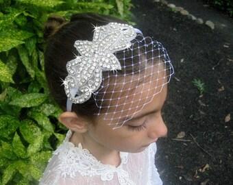 Flower Girl Headband .. Rhinestone Wedding Headband .. Bridesmaid Hair Accessory .. Birdcage Veil .. Bridal Rhinestone Headband