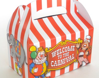Circus Treat Boxes / Favor Boxes / 12 Count / Circus Carnival Party Favor Boxes Candy Boxes Bread Boxes