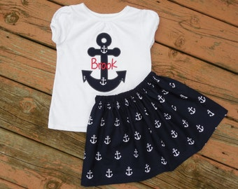 Girl's Toddlers Navy Anchor Skirt and Personalized Anchor Applique Shirt Outfit