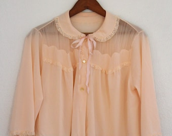 1960s Bed Jacket Peach Peter Pan Collar Lace and Chiffon Womens Vintage Medium Large