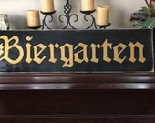 XL  BIERGARTEN Beer Garden Sign German Oktoberfest Party Decor Deutschland Bavarian Plaque Wooden You Pick from 10+ Colors Hand Painted