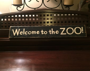 Welcome to the ZOO Fun Family Sign Plaque Wooden U Pick Color Hand Painted