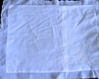 1940's Baby white Cotton Muslin Pillow Case Cover embroidered