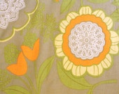 1/2 Yard Amy Butler Lacework Sage Green Yellow Orange Lace Work Floral Lotus Cotton Quilt Fabric Rare Out of Print OOP .5 Yard