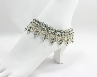 Beadwork Anklet - Pearl Ankle Bracelet - Bridal Anklet - Wedding Jewelry - Beach Anklet - Silver Ankle Jewelry - Statement Anklet