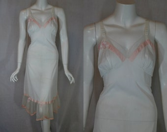 1950s Val Mode White Slip, 36, Medium, Large, Floral and Netting Details