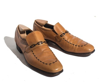 10 AA/B | Nettleton Loafer Carmel Leather Dress Shoe with Woven Toe Details