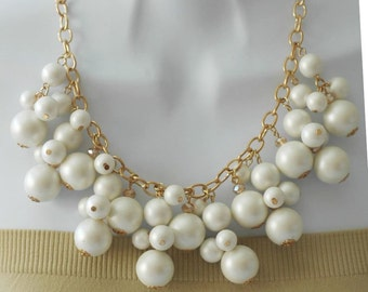 SALE - Bib Necklace, Dangle Necklace, White Necklace, Gift for her, Gold and white necklace, Pearl necklace, short necklace, birthday gift
